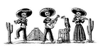 День умерших, Dia de los Muertos Скелет в мексиканских национальных костюмах танцует, поет и играет гитара иллюстрация штока