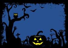 День хеллоуина черный призрак летучей мыши и тыквы Стоковые Изображения