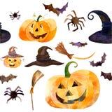 День хеллоуин тыквы акварели Стоковое Фото
