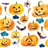 День хеллоуин тыквы акварели Стоковое Изображение