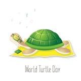 День черепахи мира Иллюстрация на праздник Характер слушает к музыке Улучшите для поздравительной открытки дизайна Стоковые Изображения RF