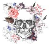 День черепа и цветков умерших Стоковое Изображение RF