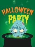 день halloween счастливый зомби хеллоуина и плакат партии боилера также вектор иллюстрации притяжки corel 10 eps Стоковое фото RF