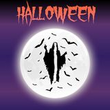 День Hallowen луны и призрака хеллоуина счастливый Стоковые Изображения