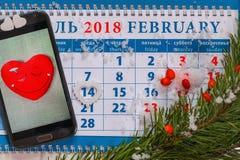 День ` s валентинки в календаре Стоковая Фотография RF