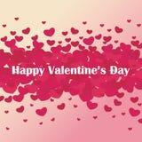 День ` s валентинки открытки Много розовых сердца и поздравлений Стоковое Фото