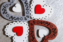 День ` s валентинки, свадьба, влюбленность Белый tracery, красный цвет, серый цвет, коричневый цвет, Стоковое Изображение