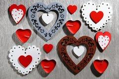 День ` s валентинки, свадьба, влюбленность Белый tracery, красный цвет, серый цвет, коричневый цвет, Стоковое Изображение RF
