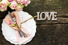 День ` s валентинки, меню с розовой и сердца Стоковое Изображение RF