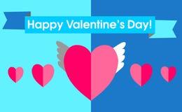 День ` s валентинки открытки в плоском стиле Интересная мысль с иллюстрация штока