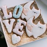 День ` s валентинки покрасил печенья в коробке Стоковое Изображение