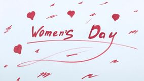 День ` s женщин и лист календаря сток-видео