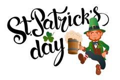 День ` s St Patrick Радостный скача лепрекон Иллюстрация штока