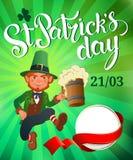 День ` s St Patrick Радостный скача лепрекон Иллюстрация вектора