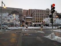 День Snowy в Бостоне Чайна-тауне Стоковые Изображения
