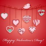 День Valentine вися розовое сердце. Стоковое Изображение RF