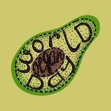 День vegan мира Помечать буквами handmade с именем события вписанного в авокадое Стоковое Фото