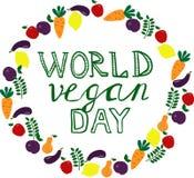 День vegan мира Шаблон, знамя, плакат иллюстрация вектора