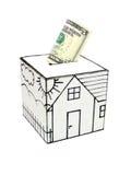 депозированные доллары нарисованный сейф 5 домов Стоковое Изображение