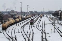 Депо поезда в Klaipeda Стоковая Фотография