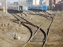 Депо поезда в городке Стоковая Фотография