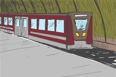 Депо с поездом бесплатная иллюстрация