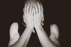Депрессия подавленный человек Стоковое Изображение