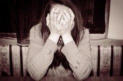 Депрессия унылая женщина Стоковые Изображения RF
