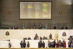 депутаты государства обсуждают законы внутри законодательная ассамблея стоковое изображение