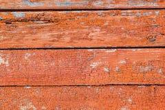 Деревенская винтажная деревянная стена с увяданной красной краской Предпосылка, tex Стоковая Фотография RF