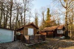 Деревенская деревянная кабина в полесье осени Стоковое фото RF