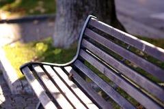 Деревенская деревянная скамья в свете утра Стоковые Изображения RF