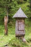 Деревенская деревянная хата дерева в лесе Стоковая Фотография RF