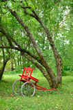 Деревенская красная тележка путем полагаться деревья Стоковое Изображение