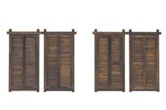 Деревенские коричневые деревянные штарки окна изолированные на белой предпосылке Стоковое Изображение