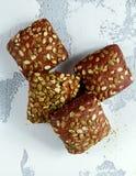 Деревенские органические плюшки сандвича с семенами тыквы Стоковое Фото
