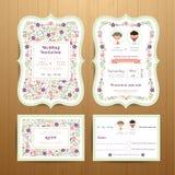 Деревенские цветки цветения wedding карточка приглашения и комплект RSVP Стоковые Изображения RF