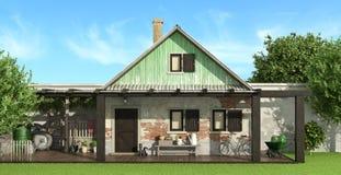 деревенский дом старый иллюстрация штока