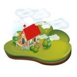 Деревенский дом в сельском ландшафте Иллюстрация штока