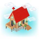 Деревенский дом с ясным небом Бесплатная Иллюстрация