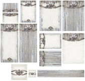 Деревенский романтичный выдержанный комплект приглашения древесины и свадьбы приукрашивания латуни розовый Стоковое Изображение