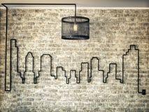 Деревенский светлый набор accented стена горизонта города на предпосылке кирпичной стены бесплатная иллюстрация