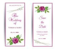 Деревенский шаблон приглашения свадьбы с розовой и лист иллюстрация вектора