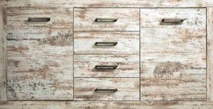 Деревенский ящик комода отбеленной древесины сосны Закройте вверх, вид спереди стоковое изображение