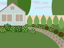 Деревенский дом с лужайкой Стоковые Фото