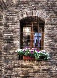 Деревенское окно с грилем металла в кирпичной стене Стоковое Изображение