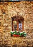 Деревенское окно с грилем металла Стоковое Фото