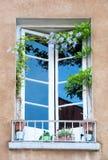 Деревенское окно с цветками Стоковая Фотография