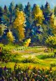 Деревни картины импрессионизма ландшафт сельской солнечный, желтый цвет, художественное произведение зеленого леса предпосылки ла Стоковые Фотографии RF