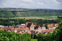 Деревня вина в средневековом стиле с виноградниками на заднем плане стоковые фотографии rf